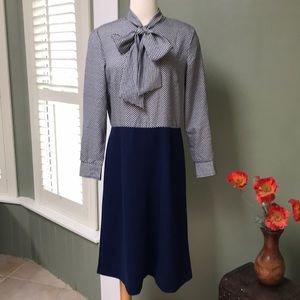 Vintage Navy & White 2-Tone Dress with Bow